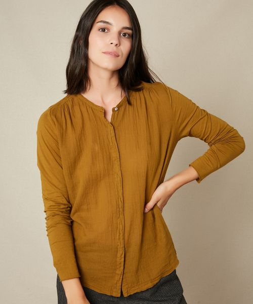 Double fabric bronze pleated tee-shirt