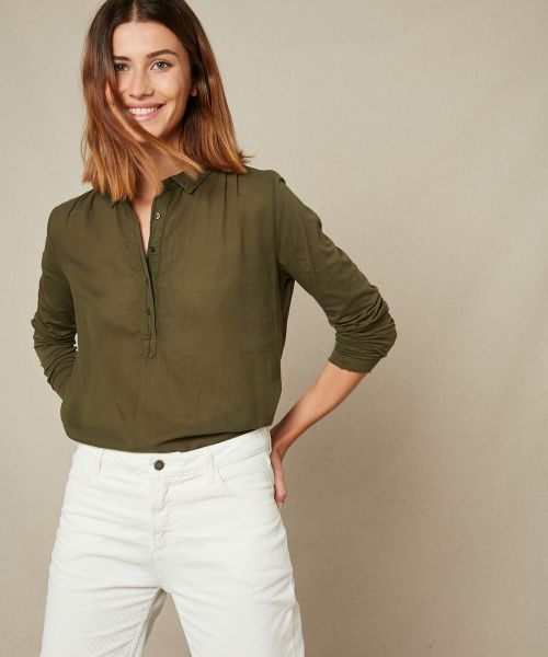 Double fabric army buttoned tee-shirt