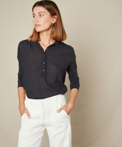 Double fabric charcoal buttoned tee-shirt