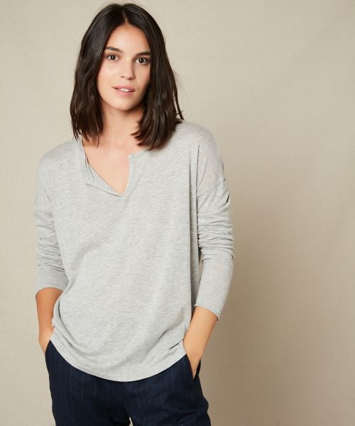 Grey cotton and modal tee-shirt