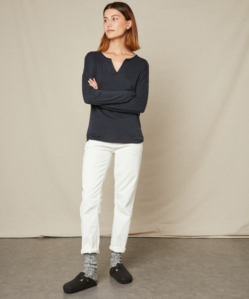 Charcoal cotton and modal tee-shirt