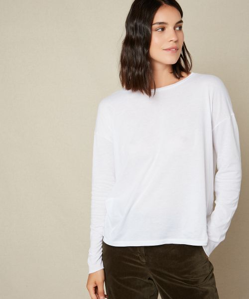 Cotton and modal raw tee-shirt