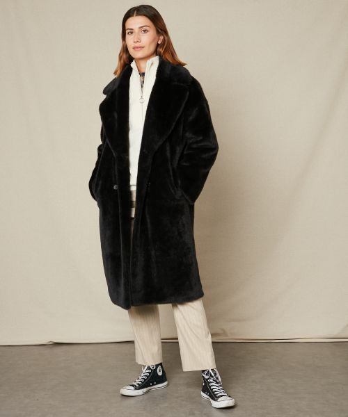 Blue black fake fur Vaderi coat