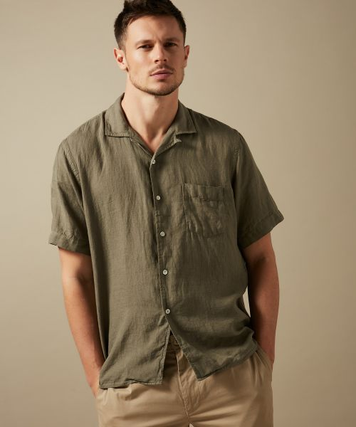 Chemise regular Palm en lin army