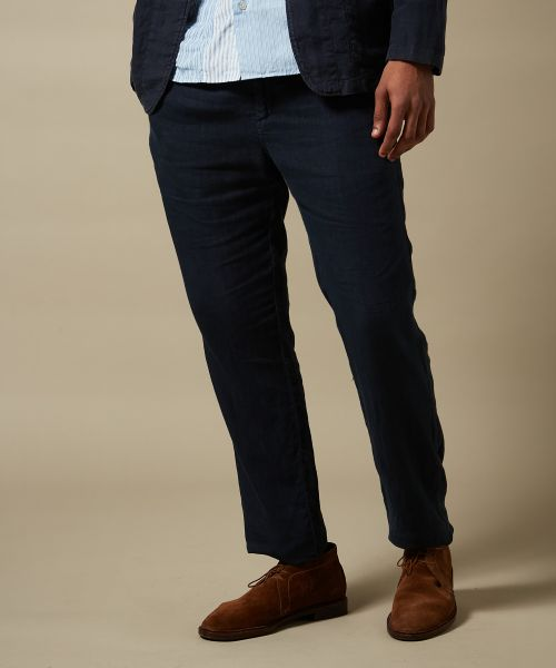 Navy linen Tanker easy pants