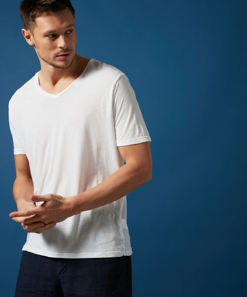 Tee-shirt col V en light jersey blanc