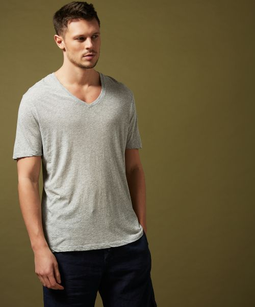Tee-shirt col V en light jersey gris